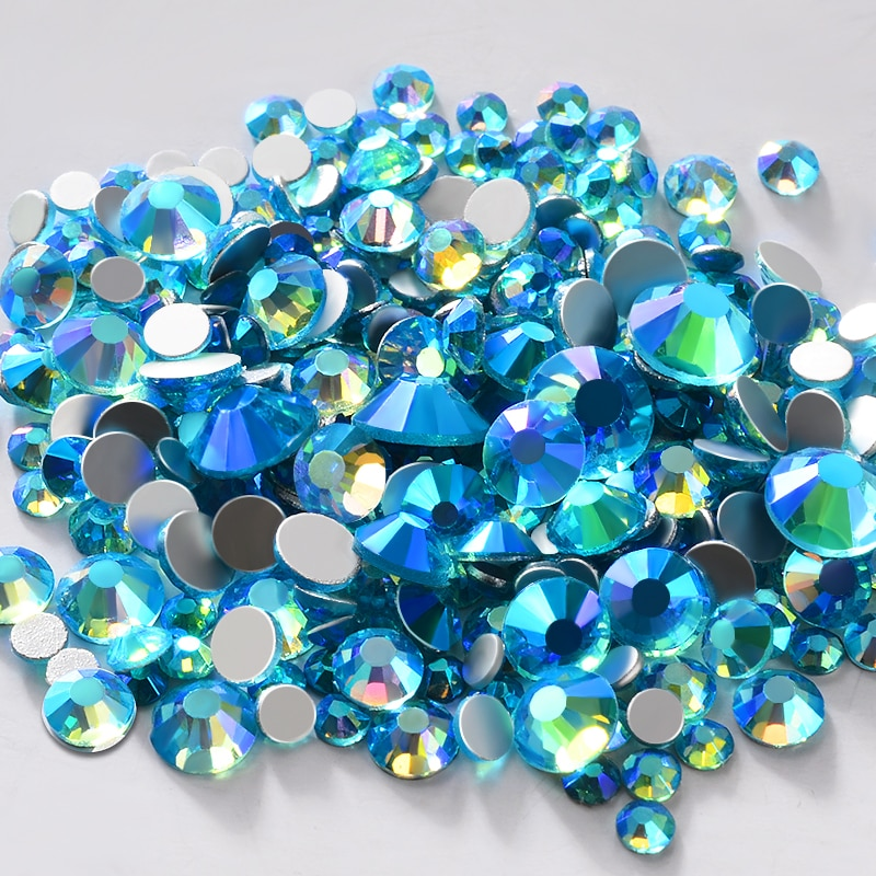 Accesorios para manicura de uñas en Color aguamarina AB, adornos de diamantes de imitación SS6-SS20 cristal para vestido de boda, ropa de zapatos