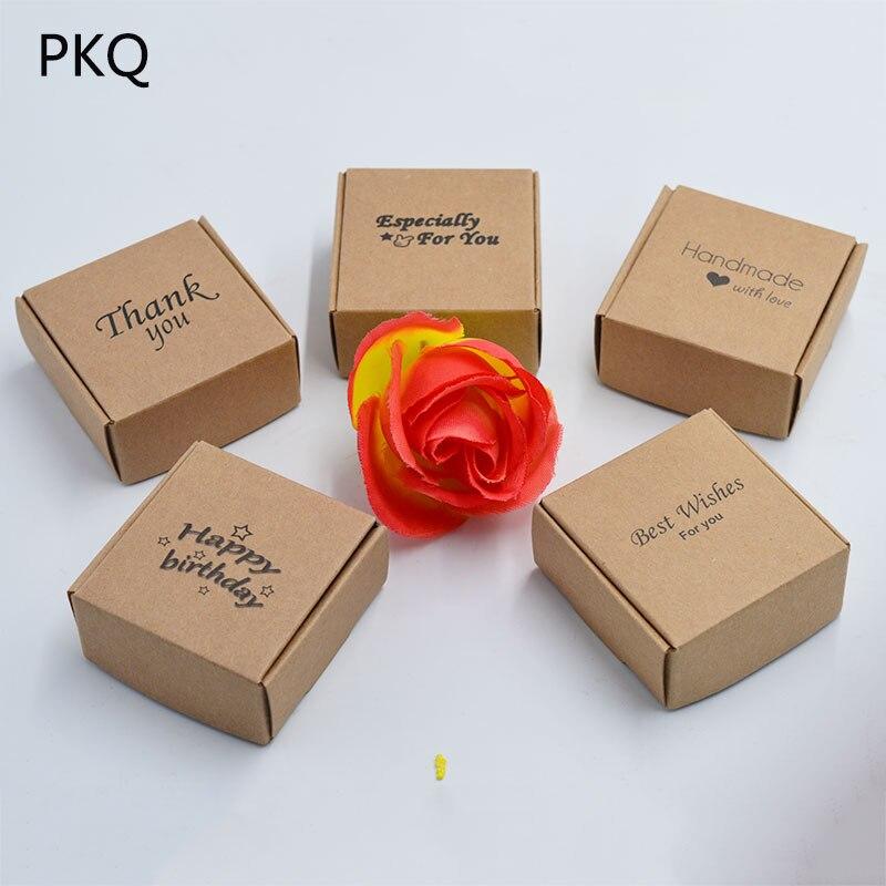"Cajas de Regalo de papel de envolver de cartón ""hechas a mano con amor"", caja de regalo de joyería para manualidades, caja de embalaje plegable de papel kraft, caja de jabón"