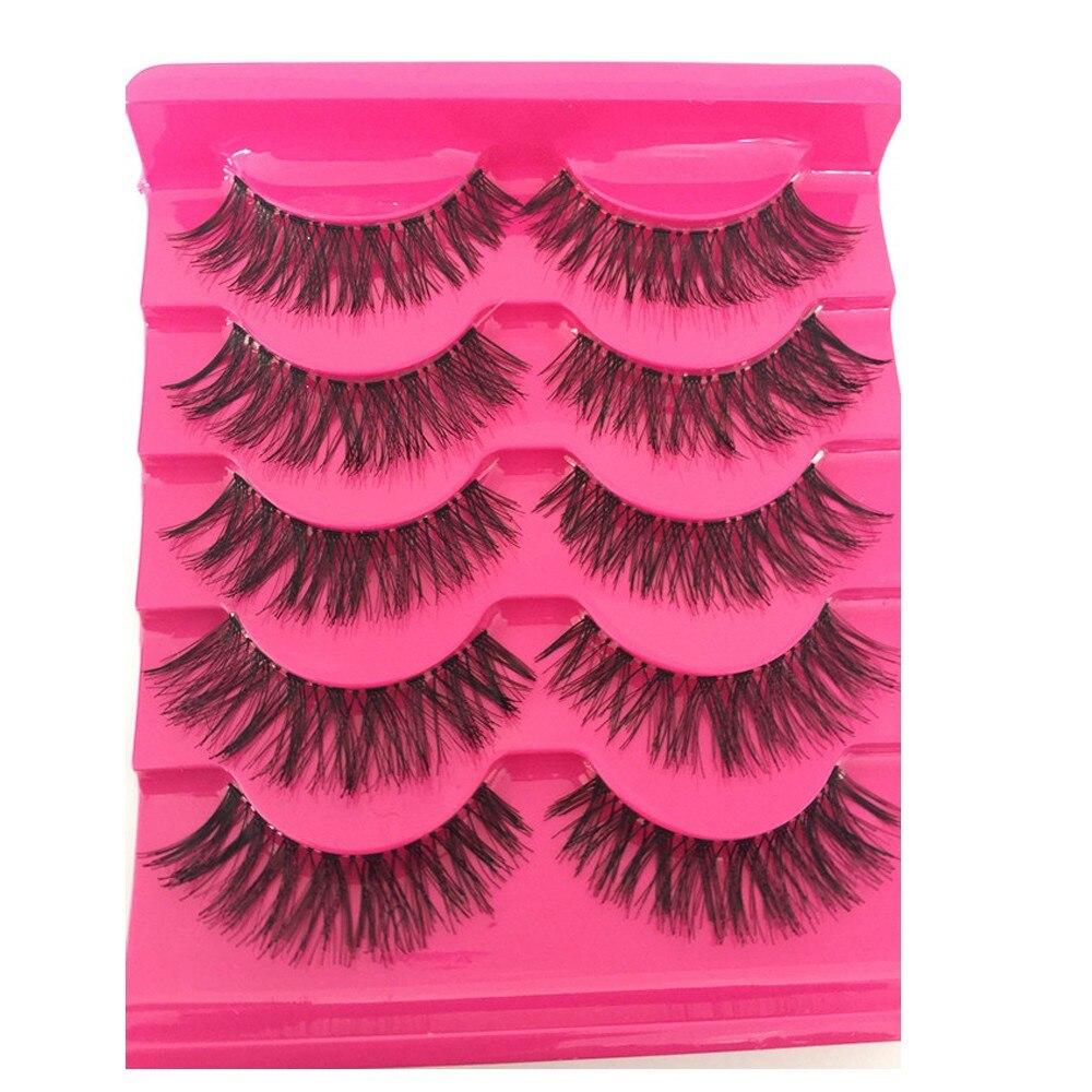 Pestañas postizas para mujer, 5 pares, nuevas, de moda, suaves, naturales, largas, cruzadas, hechas a mano, gruesas, extensiones, útiles de maquillaje
