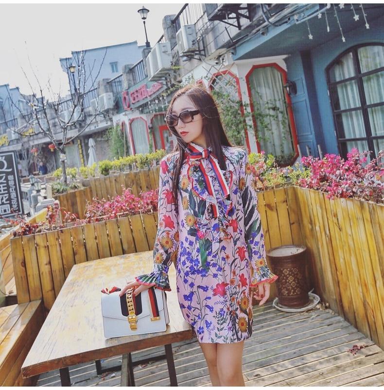 Nuevo vestido de primavera, verano, Europa y los Estados Unidos, estampado de flores, encaje de hoja de loto, J612727