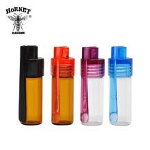 2pcs 36mm/51mm Glass Botella Bullet Rocket Acrylic Snuff Snorter Glass Plastic Snuff Snorter With Acrylic Cap Spoon