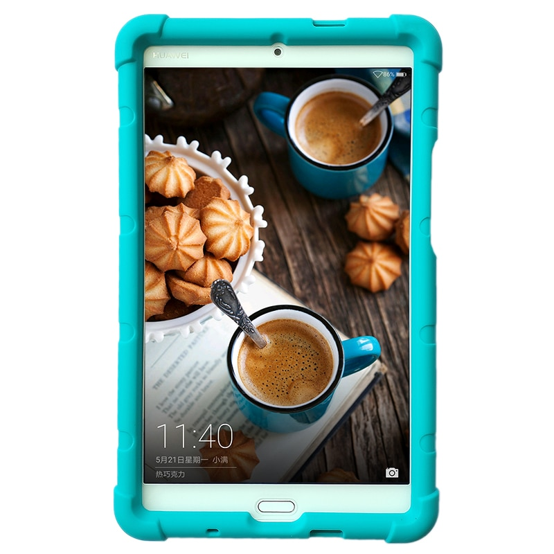 Mingshore áspero caso capa de silicone para huawei mediapad m3 8.4 polegada BTV-DL09A/b/g BTV-W09 tablet com alça de mão nascida
