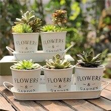 Pot de fleurs en étain 2 pièces/3 pièces   Blanc, créatif, Succulent, petits Pots de fleurs, seau de fleurs, décoration pour la maison et le bureau