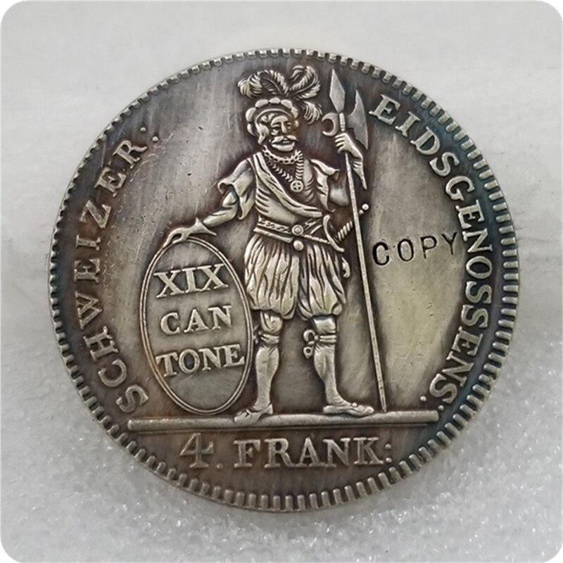 1812 Suiza distrito Neutaler Prachtexemplar moneda de plata copia