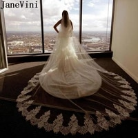 janevini elegant 3 5 meters long cathedral wedding veil lace edge white soft tulle bridal veil two layers bride veils with comb
