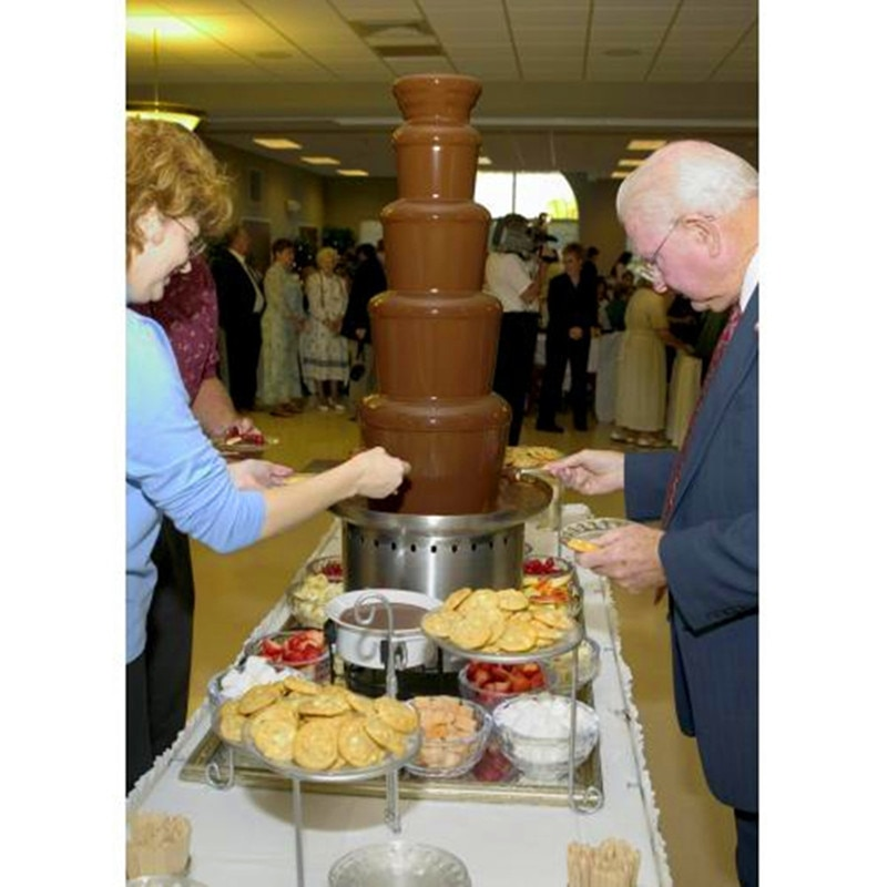 نافورة شوكولاتة تجارية من 5 مستويات من الفولاذ المقاوم للصدأ, لوازم حفلات الزفاف والكريسماس
