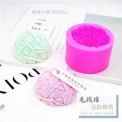 PRZY En forma de bola de hilo de silicona molde fabricación artesanal de jabón molde yeso aromático moldes de vela forma Semicircular lana