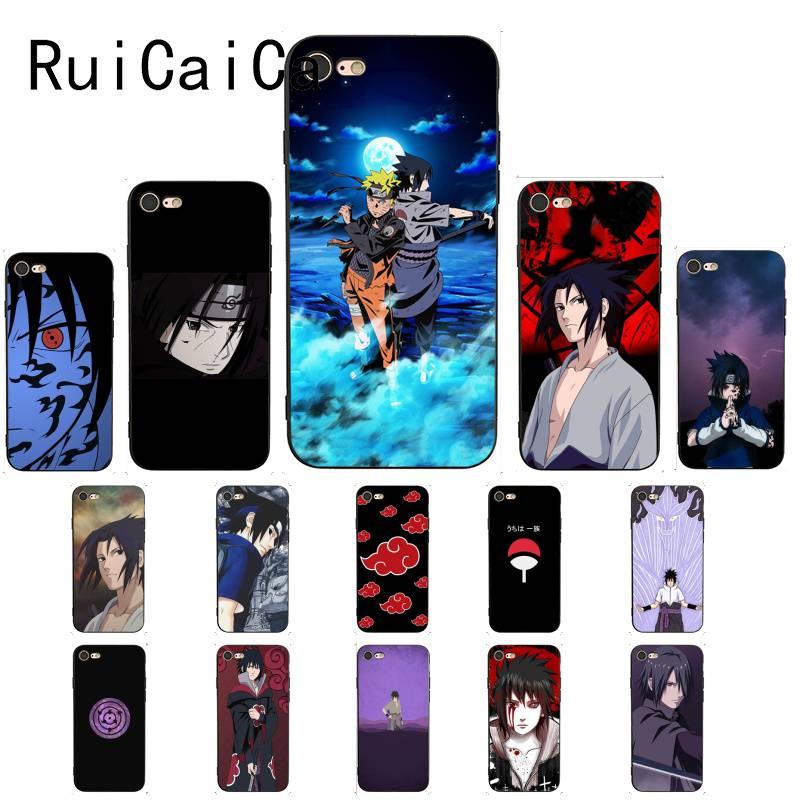 RuiCaiCa, funda negra suave para móvil de Naruto Uchiha Sasuke para iPhone 8 7 6 6S 6Plus X XS MAX 5 5S SE XR, funda 11 11pro 11promax