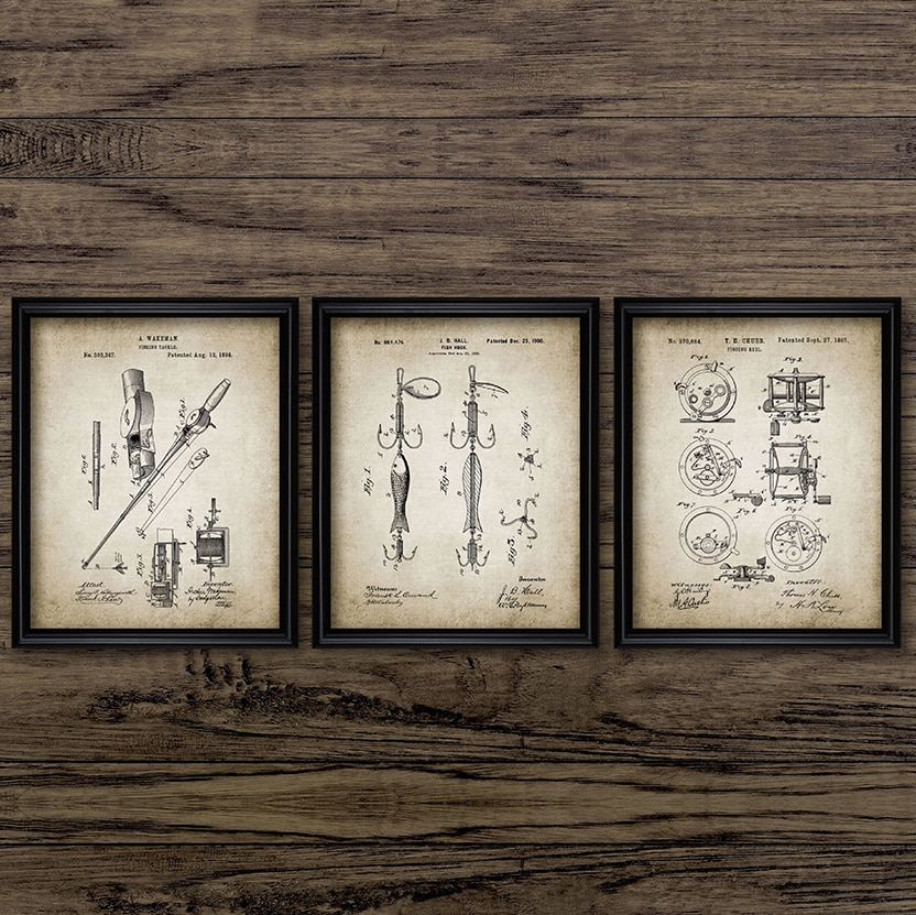 Vintage Fishing Patent Canvas Poster Fishing Tackle Equipment Painting Prints Angling Design Picture Retro Wall Art Decoration