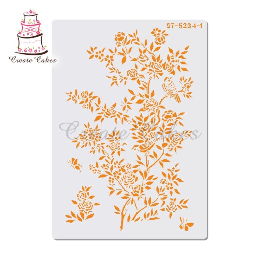 Plantilla con flores decorativas para pintar Paredes, álbum de Sello de álbum de recortes, grabado decorativo, papel para manualidades, etiqueta para flor DIY, plantilla