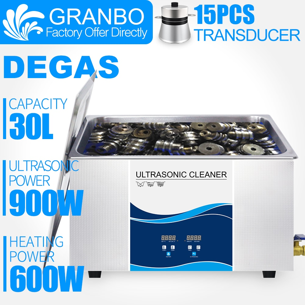 Granbo Digital Ultrasonic Cleaner 30L 900W With DEGAS cleaning Gun bullets Auto Engine Parts PCB board Car chain Hardware parts industrial 88l ultrasonic cleaner generator engine oil auto car parts motherboard hardware washer heated bath equipment