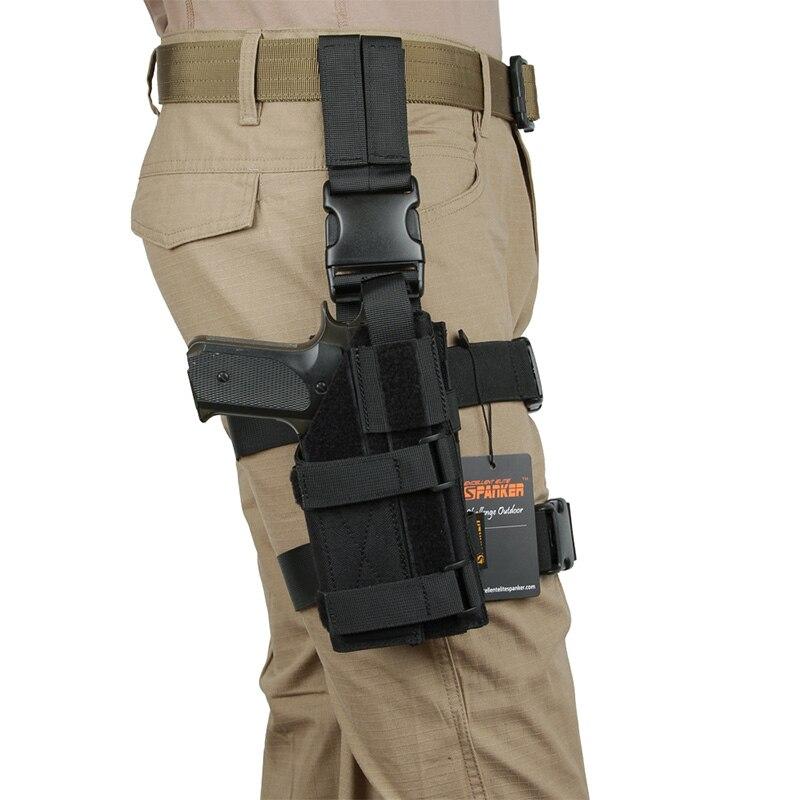 Excelente ELITE SPANKER Mini Drop Leg Panel con pierna Universal colgando pistola bolsa al aire libre caza colgando traje equipo