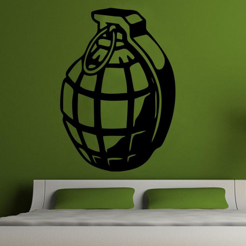 Calcomanía decorativa de pared militar para dormitorio, calcomanía decorativa de pared, diseño de Granada del ejército, calcomanía de pared calada de PVC M479