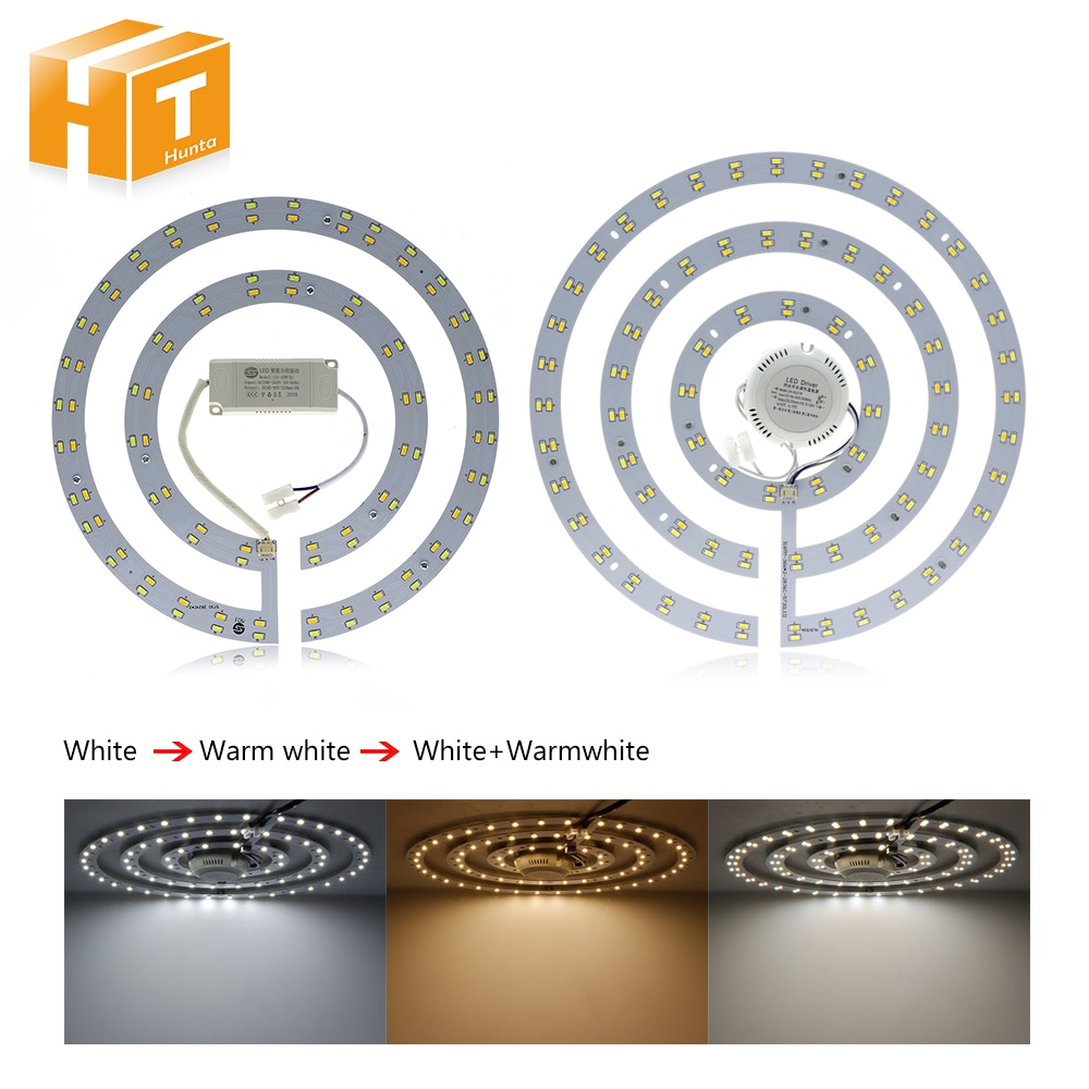 Tubo de luz anular LED de doble Color blanco/blanco cálido ajustable reemplazar otras luces de techo tubos LED de ahorro de energía.