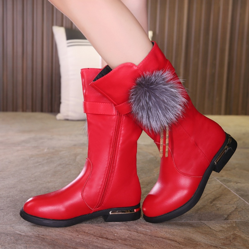 2018 winter girls boots real leather high boots girls' cotton shoes children's snow boots Martin boots