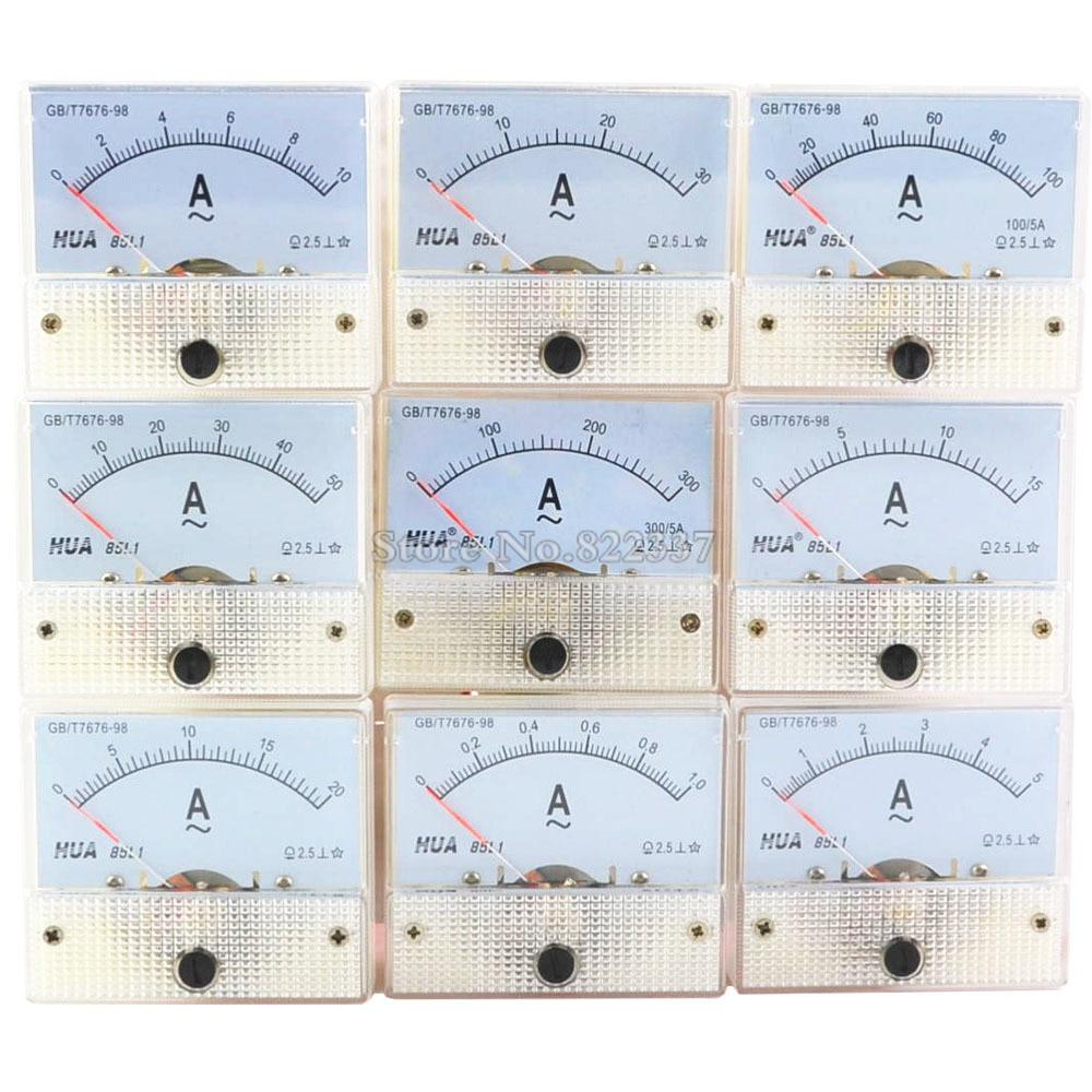 85L1-A AC Amp Meters Analog Meter Panel  Measuring Range 1A 2A 3A 5A 10A 15A 20A 30A 50A 100A 300A  Micro Current