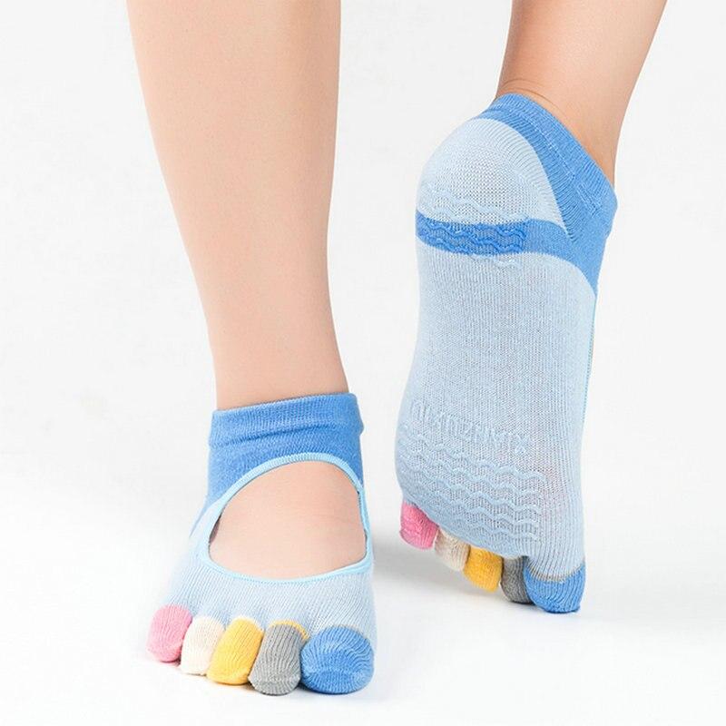1 par mujer Calcetines de Yoga Slip algodón medias de Yoga para Mujeres corriendo Fitness calcetines de cinco dedos Fitness de dedo completo