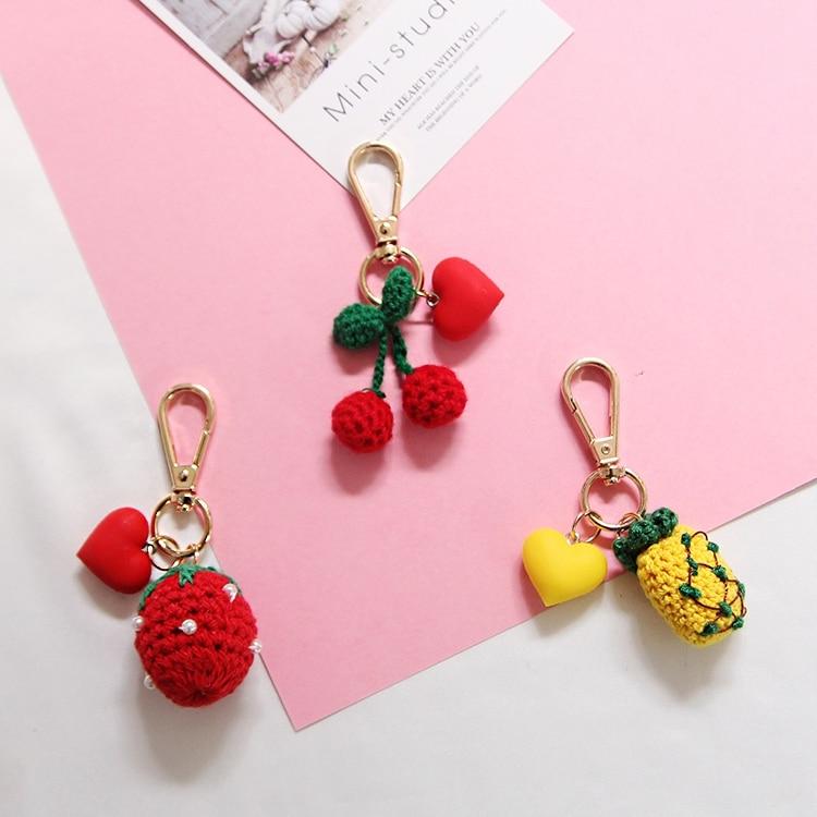 Llaveros hechos a mano de cereza piña fresa llaveros bolso colgante encanto llavero Portachiavi J37