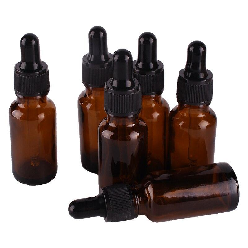 Compte-gouttes en verre ambre de 20ml   6 pièces, flacons avec Pipette, flacons de parfums vides, bocaux à liquide