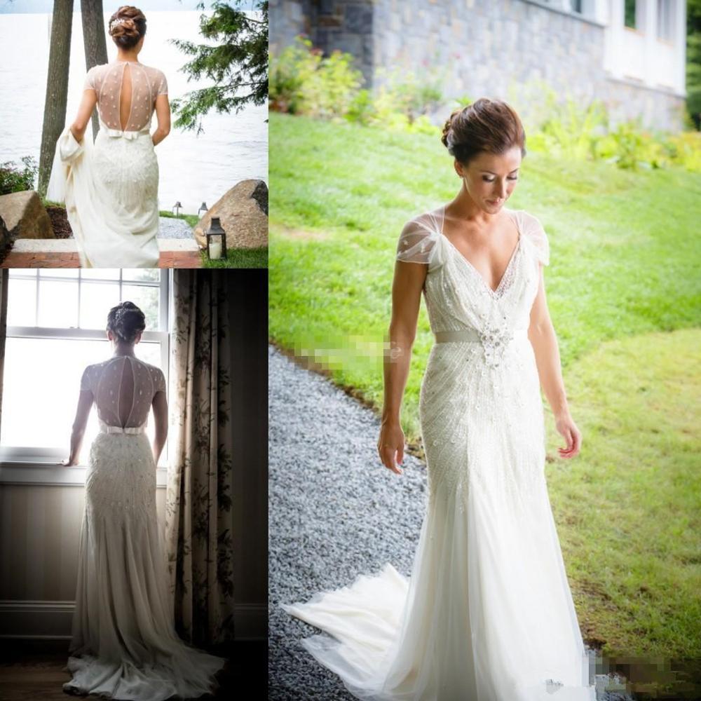 Vintage Große Gatsby Hochzeit Kleider mit Hülse 2019 V-ausschnitt Sparkly Luxus Perlen Spitze Garten Meerjungfrau Braut Empfang Kleid