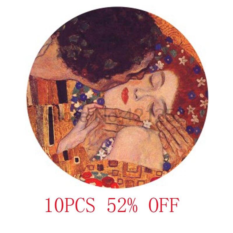 El beso de gustav, arte de Klimt, cabujón colgante de cristal, collar, llavero, marcapáginas, pendiente de gemelos