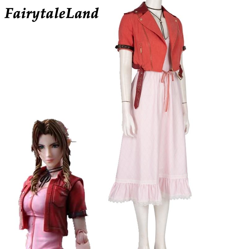 Final fantasia vii remake cosplay aerith gainsborough traje de halloween ps4 jogo ff7 remake jaqueta traje terno topo