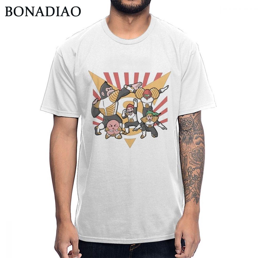 Para hombres diseño interesante Super Smash Bros Kirby Link Donkey Kong Samus Aran Camiseta cuello redondo puro algodón camiseta única
