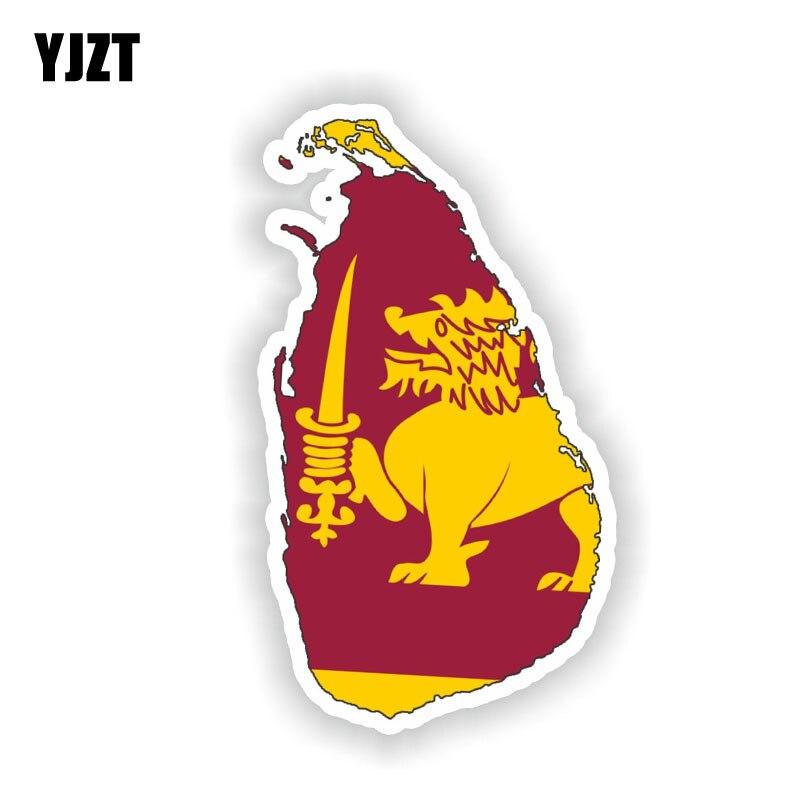 YJZT 8,3 CM * 14,8 CM personalidad Sri Lanka mapa bandera coche pegatina reflectante accesorios 6-1527