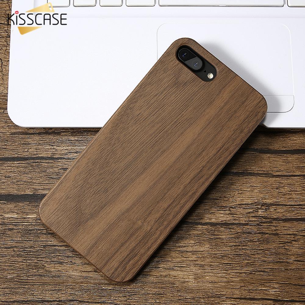 KISSCASE de bambú funda para iPhone x 7 Xs Max 8 Plus XR Retro Real caja de madera para iPhone 5 y 5s Se 6 6S Plus cubierta Capa