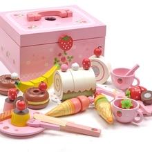 Hot! Rosa Cor De Madeira Brinquedo Sorvete Colorido Cozinha Alimentos Pretend Play Simulação Brinquedo Magnético Brinquedo Do Bebê Alimentos Aniversário D187