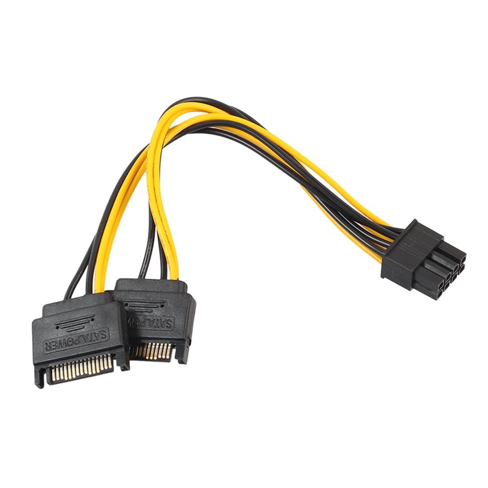 20cm 2 15Pin SATA macho a PCI-e 8Pin (6 + 2) Cable de alimentación de tarjeta de vídeo macho 8PIN a 15PIN Cable del convertidor para tarjeta multigráfica