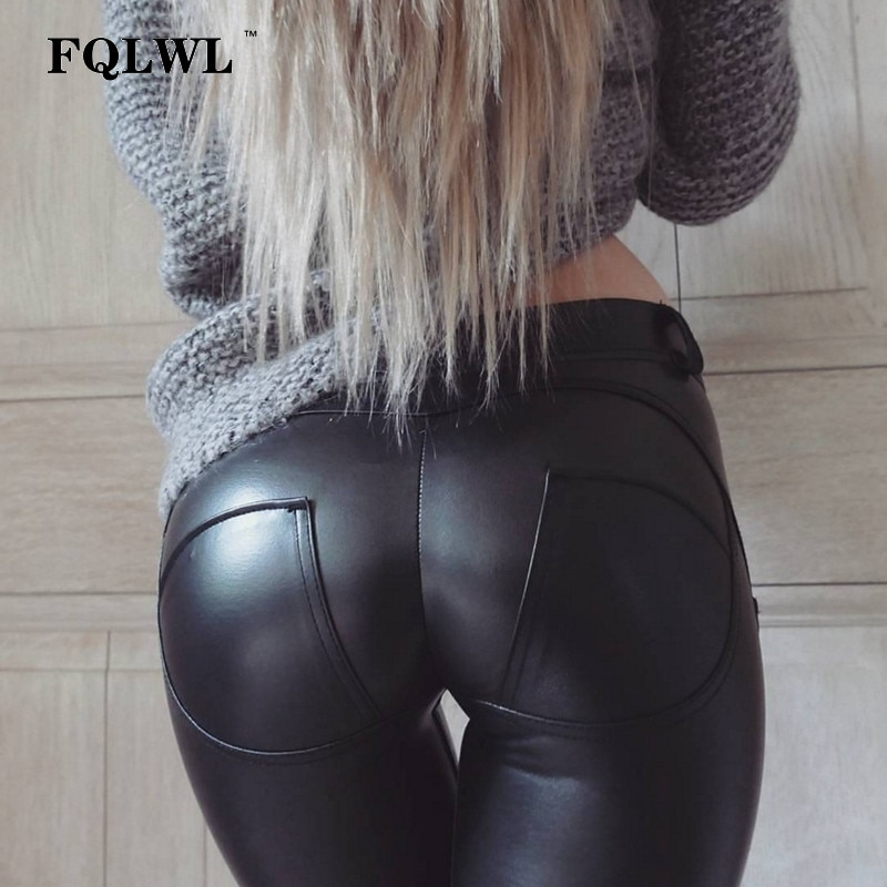 FQLWL Plus Sizes PU Leather Pants Women Elastic Waist Hip Push Up Black Sexy Female Leggings Jegging Casual Skinny Pencil Pants
