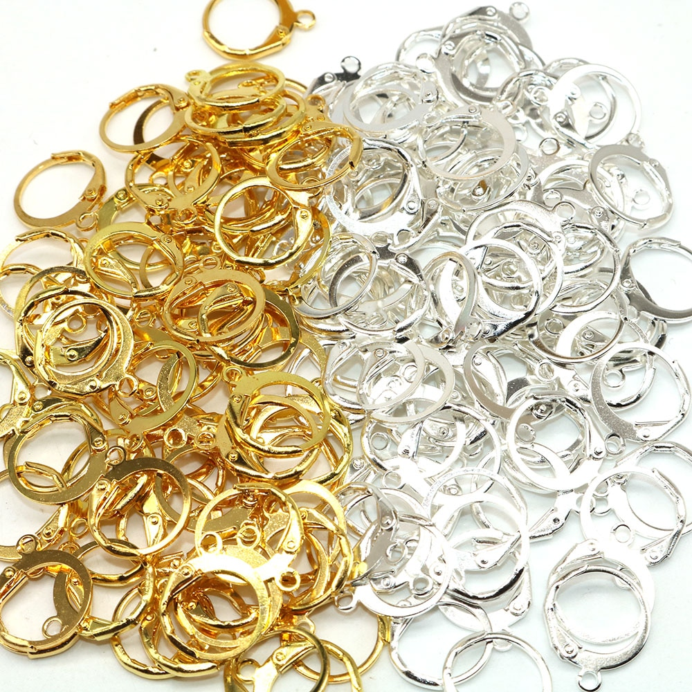 50pcs Metal Rhodium Copper Clip On Earring Clasps Hooks Findings With Loop Clasp Round Base For Diy