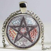 Freies verschiffen Schöne Baum Pentagramm Wicca Anhänger Halskette Wiccan Schmuck Occult glas dome anhänger halskette