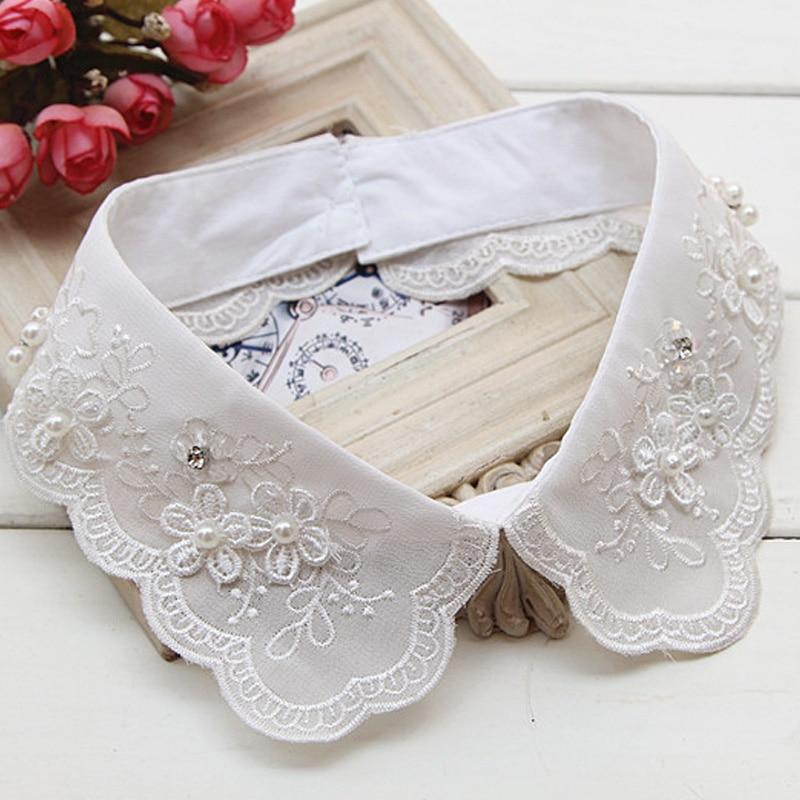 Moda mujer lotus leaf ear mesh bottoming doll blusa camisa blanca removible decorativo cuello puntiagudo rhinestone falso collar