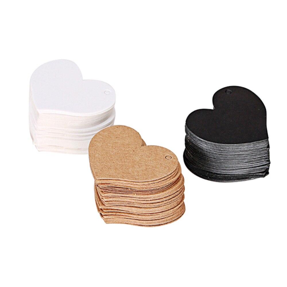 50 Uds. Etiquetas de ropa con forma de corazón de 50 Uds. De 4,5x4cm, tarjeta de papel Kraft, etiqueta de regalo para boda, etiqueta de regalo DIY, etiqueta de fiesta, Favor