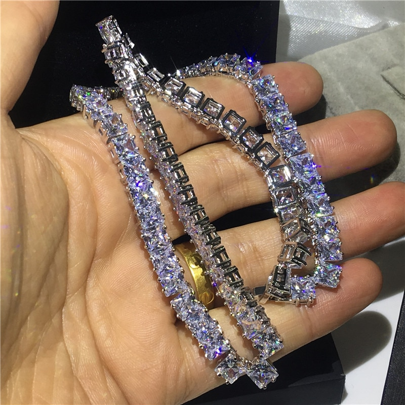 choucong Luxury Tennis Necklace Full Princess Cut AAAAA Cz White Gold Filled Party Wedding Necklace for women men jewelry Gift