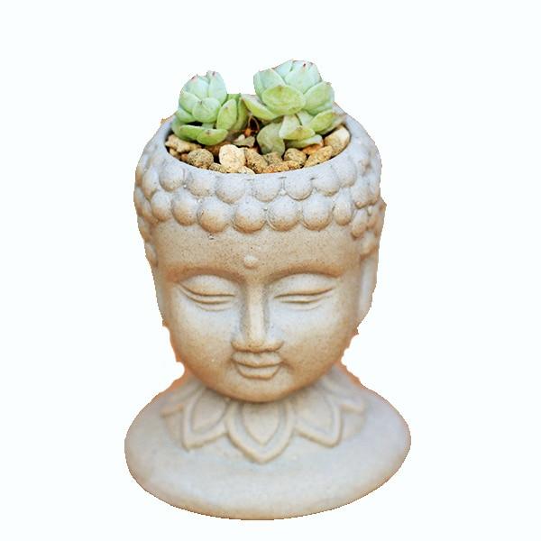 قالب سيليكون لأواني الزهور ثلاثية الأبعاد ، إناء زهور ، أسمنت ، رأس بوذا ، صناعة يدوية