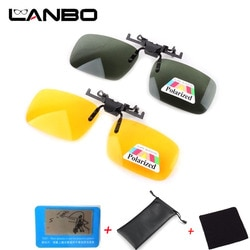 LANBO поляризационные солнцезащитные очки с клипсой, очки для вождения, линзы ночного видения, пластиковый чехол, анти-УФ-Оттенки для женщин и мужчин 0103