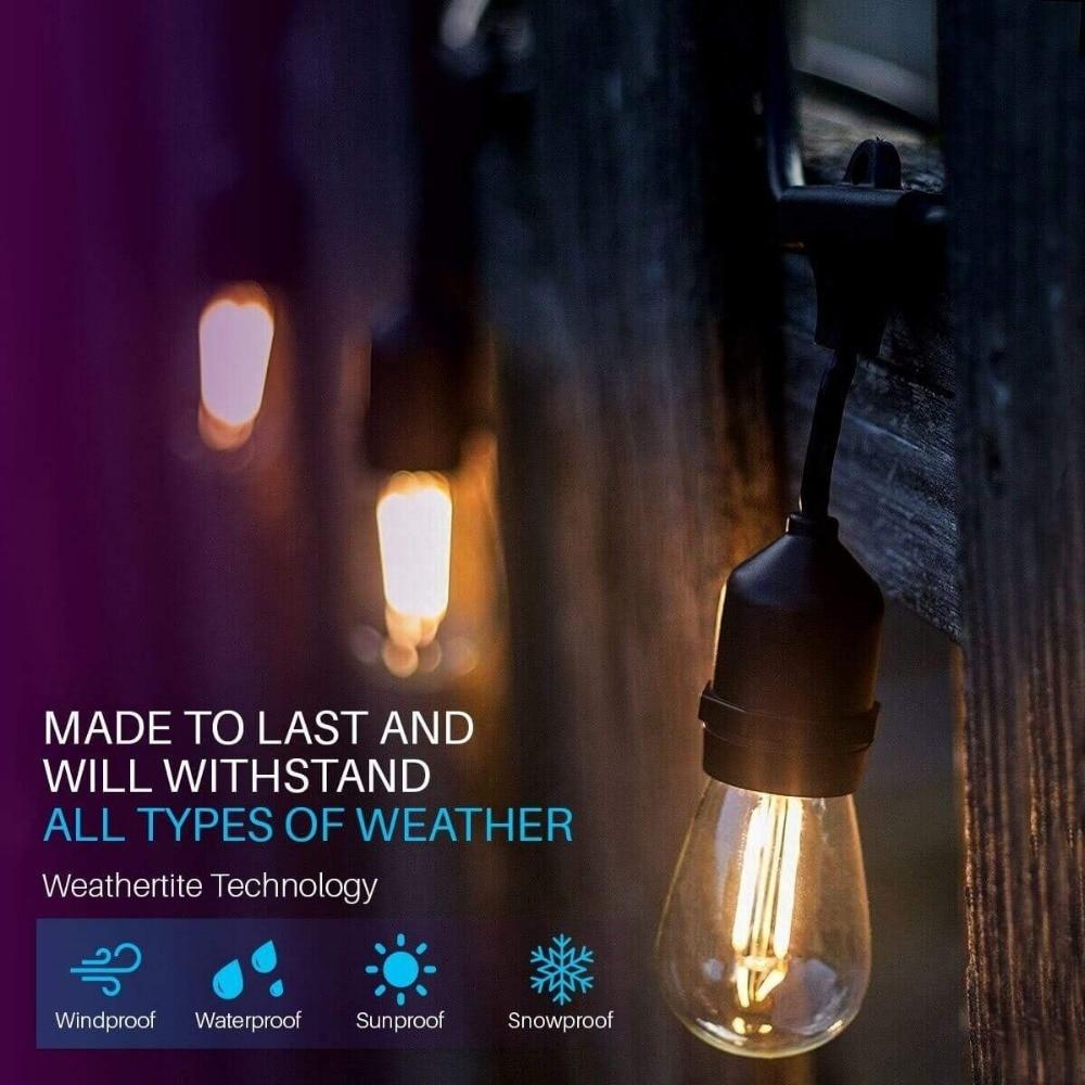 IP65 15M LED S14 String Lights Waterproof E27 Warm LED Retro Edison Filament Bulb Outdoor Street Garden Patio Holiday Lighting
