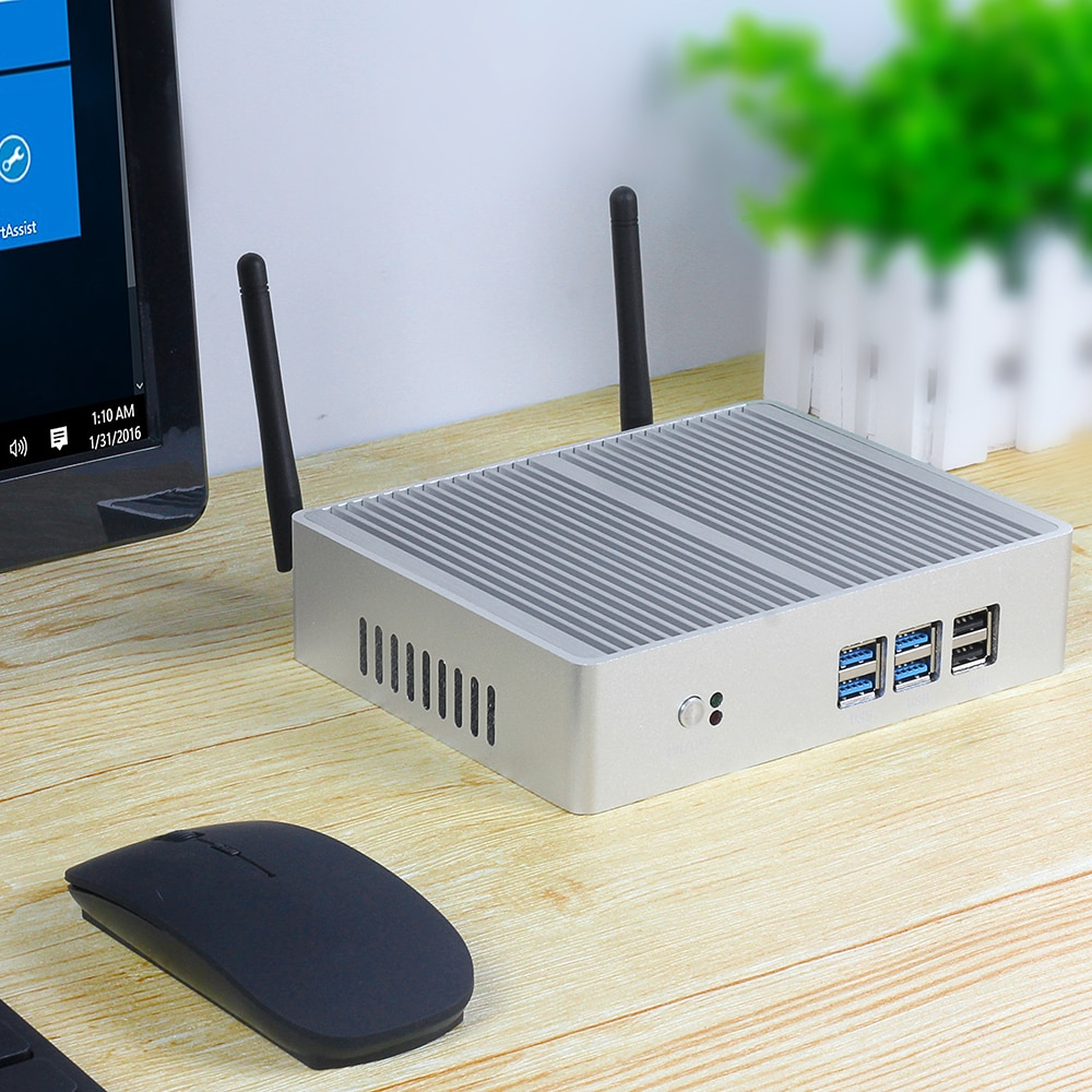 free shipping ddr4 fanless mini pc core i7 7500u computer 7th cpu core i5 7200u celeron 3865u with hdmi vga 4 usb3 0 nettop htpc Fanless Mini PC Intel Core i7 5500U i5 5200U i3 5005U Windows 10 HTPC Computer 4K Nettop HDMI VGA 6*USB Wi-Fi Gigabit Ethernet