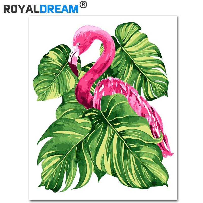 ROYALDREAM, flamenco de plátano, pintura de Kits de pintura por números DIY por números, regalo de arte de pared moderno