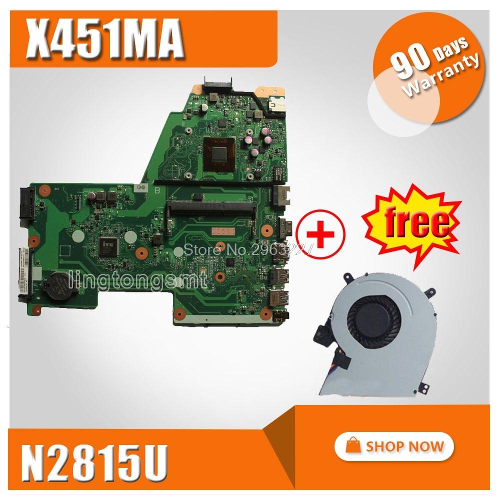 Free fan + X451MA Motherboard REV2.1 N2815U For ASUS X451M X451MA F451M Laptop motherboard X451MA Mainboard X451MA Motherboard