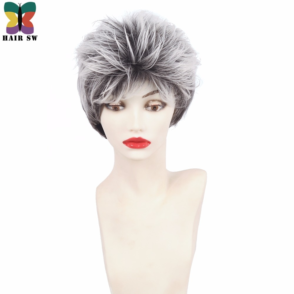 HAIR SW Natural Wave Short Gray Hairstyles Wig With Bangs Fluffy Layers Classy Synthetic Wigs White For Older Women over 60