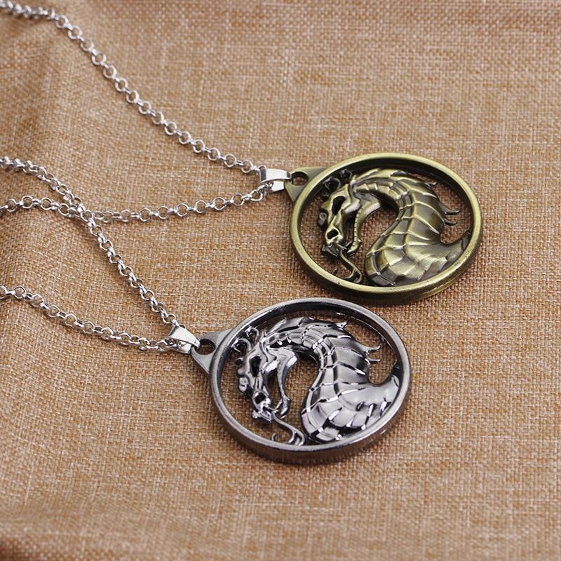 Jeux de combat de bon augure Mortal Kombat dragon pendentif chaîne or argent couleur bijoux accessoires gothiques bijoux