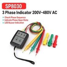 SP8030 3 fazy obrotu Tester cyfrowy wskaźnik fazy detektor LED Buzzer kolejność faz miernik Tester napięcia 200 V-480 V AC