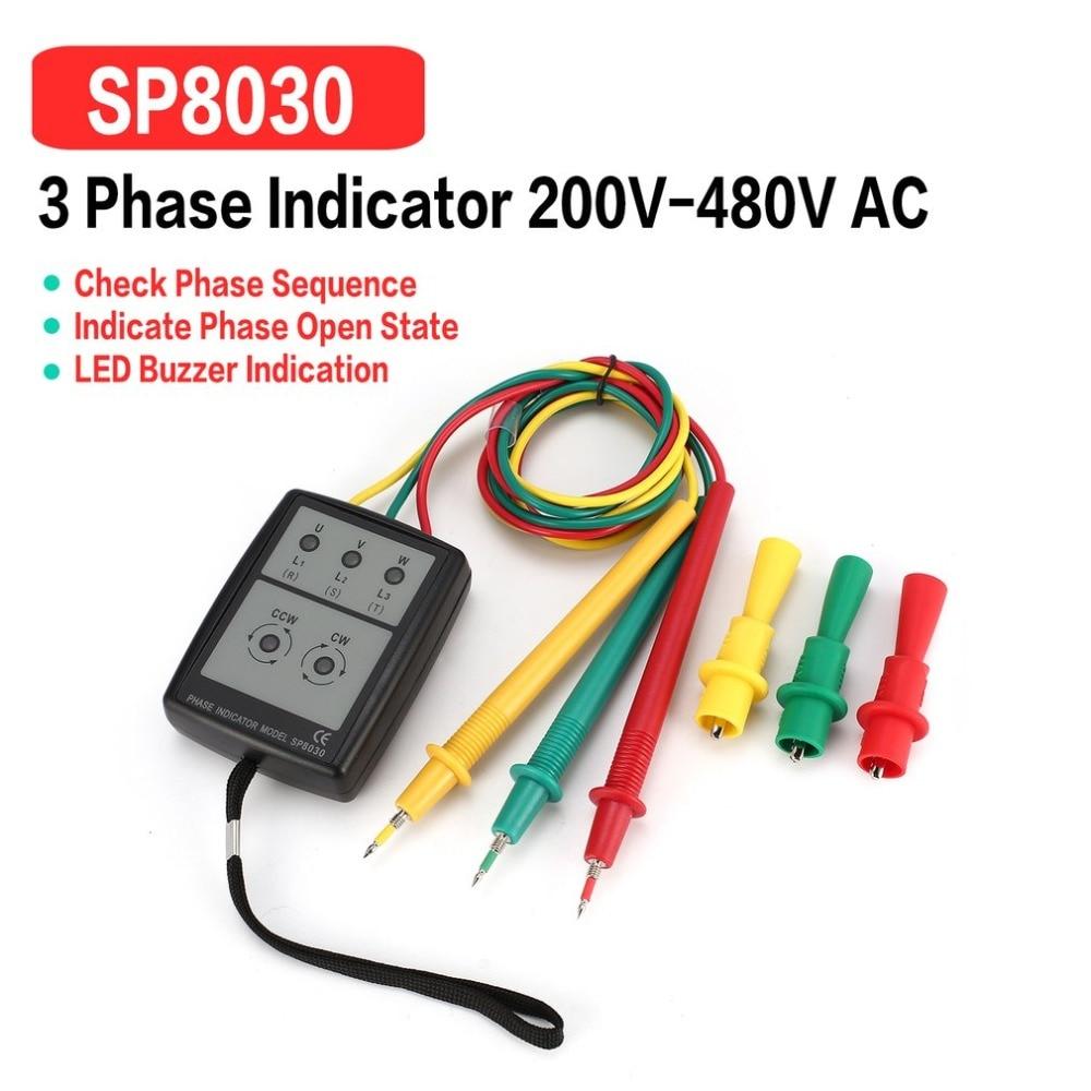 SP8030 трехфазный тестер вращения Цифровой индикатор фазы детектор Светодиодный звуковой сигнал фазовый измеритель последовательности тестер напряжения 200 в-480 В переменного тока