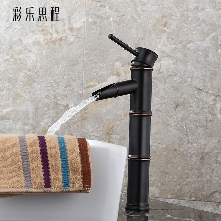 Grifo de bambú oscuro de cobre europeo para agua fría y caliente, lavabo de un solo agujero, grifo antiguo Americano negro