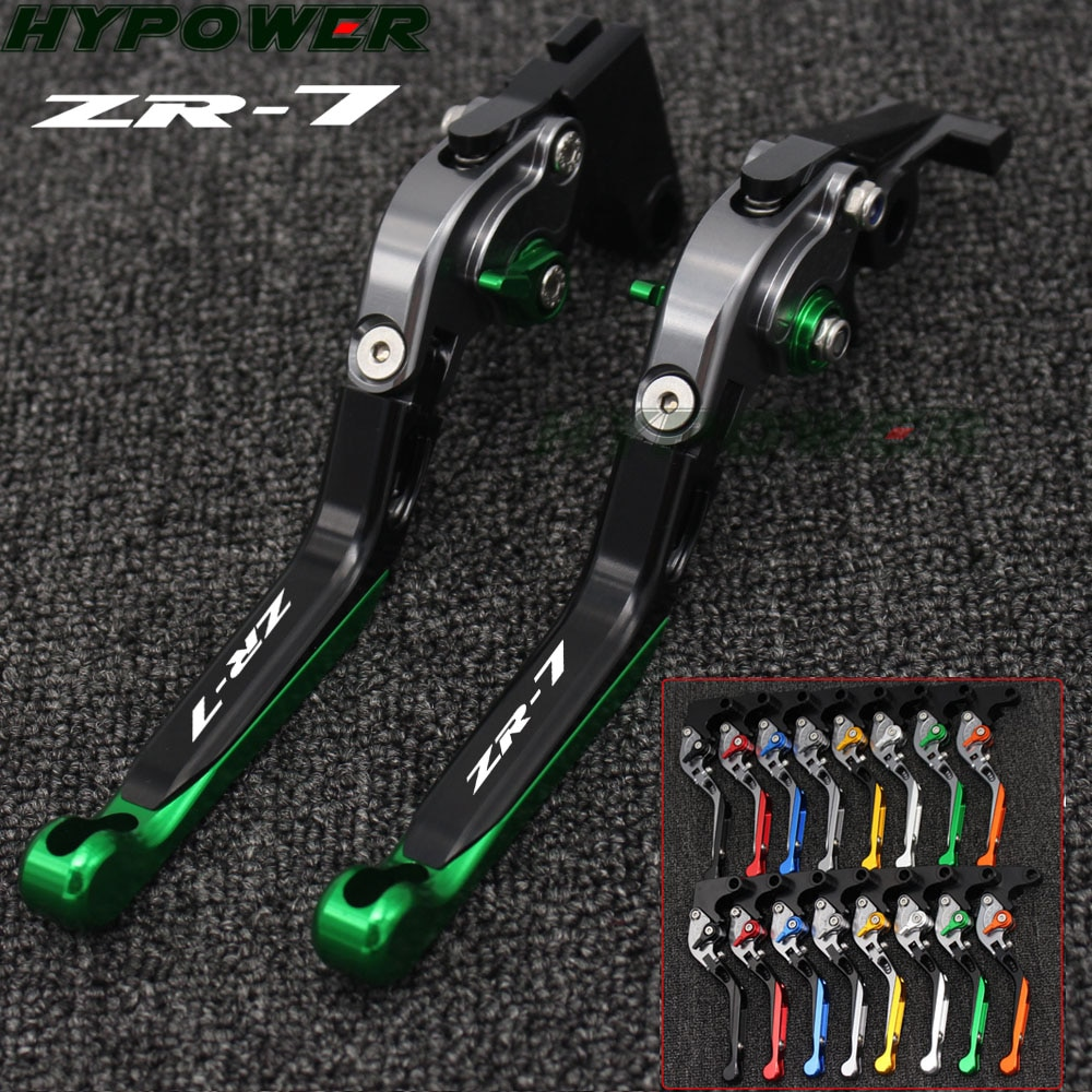 ¡! Palancas de embrague de freno de motocicleta CNC Logo (ZR-7) verde + titanio para Kawasaki ZR-7/S ZR7 ZR7S 1999-2003 2000 2001 2002