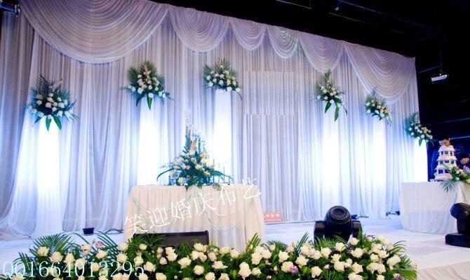 Telón de fondo de boda blanco de 20 pies x 10 pies con guirnaldas, tela de evento y fiesta, hermosas cortinas de fondo de boda, decoración de boda